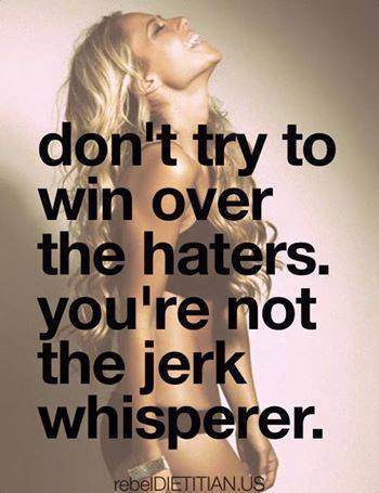 don't try to win over the haters, you're not the jerk whisperer haters gonna hate